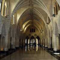 Interior Corridors of the Parliament Building in Ottawa, Ontario, Canada