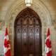 Main door to the House of Commons in Centre Block Ottawa, Ontario, Canada