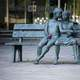 Young Boy and Girl Statue on bench