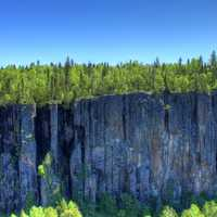 Trees on the canyon wall at Ouimet Canyon, Ontario, Canada