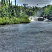 Scenic view of middle falls at Pigeon River Provincial Park, Ontario, Canada