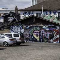 Graffiti Art on the wall in Downtown and Old town in Thunder Bay, Ontario, Canada