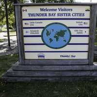 Sign of Thunder Bay Sister Cities in Ontario