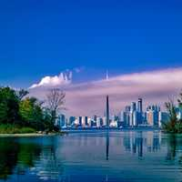 Skyline of Toronto from across the lake in Ontario, Canada
