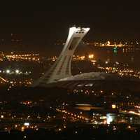 Aerial view at night of the stadium in Montreal, Quebec, Canada