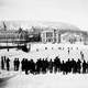 Hockey game on campus in 1884 at McGill university in Montreal, Quebec