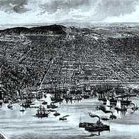 Montreal Harbour in 1889 in Quebec, Canada