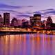 Night Time Skyline across the water in Montreal, Quebec, Canada
