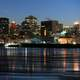 Night Time Skyline with towers and buildings over the water in Montreal, Quebec