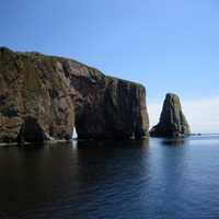 Perce Rock and landscape in Quebec, Canada