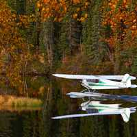 Seaplane landing on the lake in Quebec, Canada