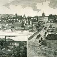 Town of Granby in 1883 in Quebec, Canada