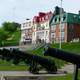 Cannons in front of the houses in Quebec City, Canada