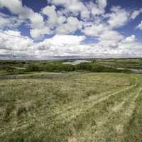 Grassland and river scenery in Saskatchewan