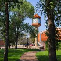 Library Clock as Seen from Central Park in North Battleford, Saskatchewan