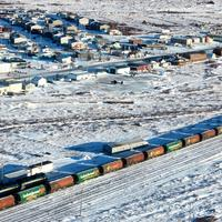 Winter landscape with trains in Churchill in Saskatchewan