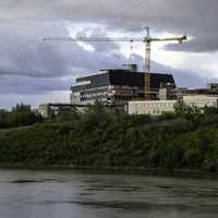 Construction from across the river in Saskatoon, Saskachewan
