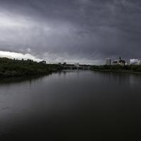 Dark Skies and landscape of the Saskachewan River in Saskatoon