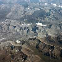 Aerial photograph of the Mackenzie Mountains in the Yukon Territory, Canada