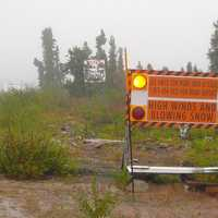 Road sign on Dempster Highway, Eagle Plains in the Yukon Territory