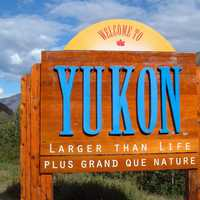 Welcoming Sign of the Yukon Territory, Canada