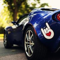 Blue Cars with cool hand symbol paint