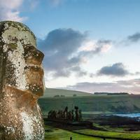 Big Moai Statue and sky plus landscape in Easter Island, Chile