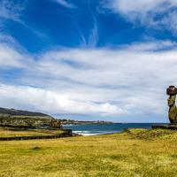 Landscape of Easter Island with sky and statue in Chile