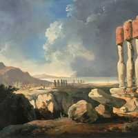 Painting of the monuments on Easter Island, Chile