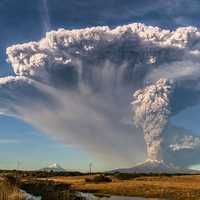 Giant smoke cloud from Volcano in Chile