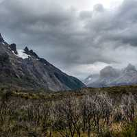Mountains, landscape, sky, and clouds in Torres del Paine, Chile