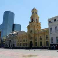 Architecture and buildings on the streets in the Santiago, Chile