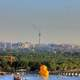 Giant duck and Beijing Skyline in Beijing, China