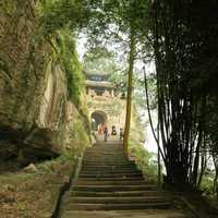 Steep path up to the front gate of Fishing Town in Chongqing, China