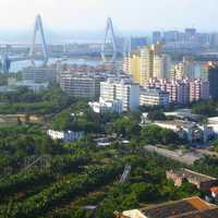 View of Haikou Century Bridge in the cityscape of Hainan