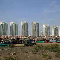 Skyline with towers in Sanya