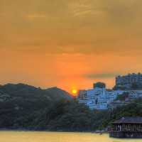 Sunset behind hotels in Stanley, Hong Kong, China
