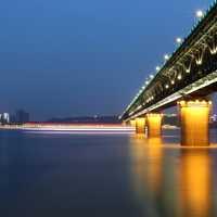 Wuhan Yangtze river bridge at night