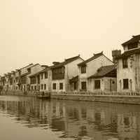 City near Qingming Bridge with houses and water in Wuxi, Jiangsu, China
