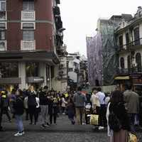 Crowds of people on the streets of Macau