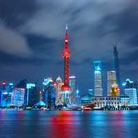 Night Skyline with bright lights in Shanghai, China