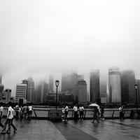Shanghai Skyline on a foggy day in China