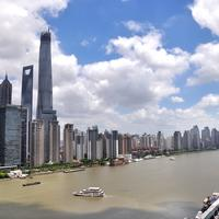 Skyline and Cityscape with the river and sky in Shanghai, China