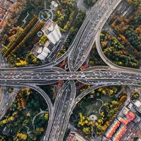 Superhighways and traffic in Shanghai, China