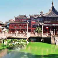 Tea houses near the City God Temple, and the Bridge of Nine Bends in Shanghai, China