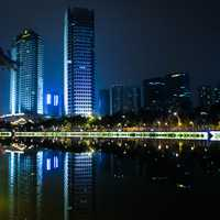 Night Time Buildings and Towers in Chengdu, Sichuan, China