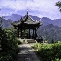 Guangfu pavilion, with summit visible in background in Mount Emei, Sichuan, China