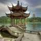 Hangzhou lake landscapes and temple Pavilion