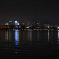 Hangzhou Skyline at night from West lake
