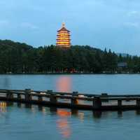 Hangzhou Tower on west lake at night landscape